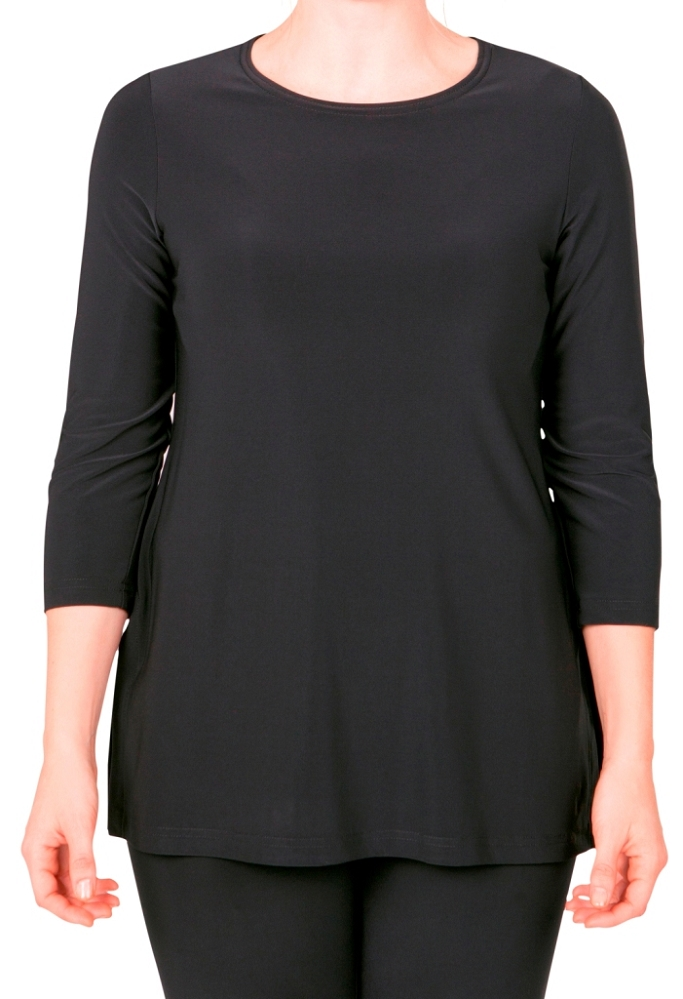 Sympli Go To High Neck T Relax 3/4 Sleeves Style 22116R-2 Color Black