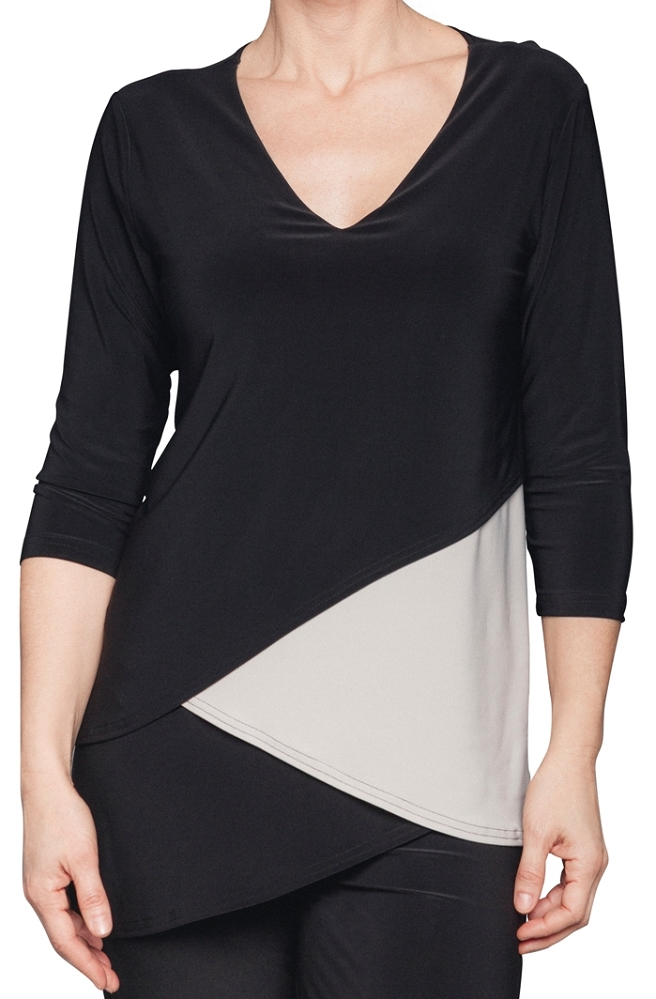 Sympli Matrix Layered Top 3/4 Sleeves Solid Style 22155P-2 Color Black & Oatmeal