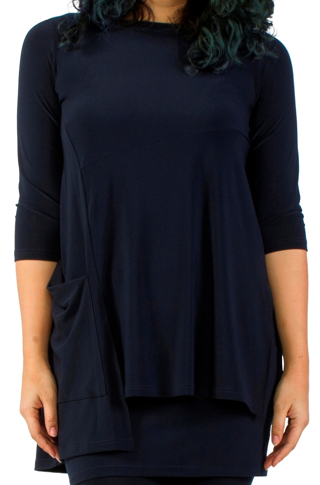 Sympli Chop Tunic 3/4 Sleeves Color Navy
