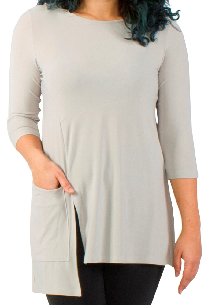 Sympli Chop Tunic 3/4 Sleeves Color Oatmeal