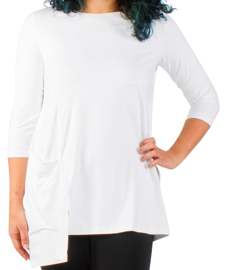 Sympli Chop Tunic 3/4 Sleeves Color White