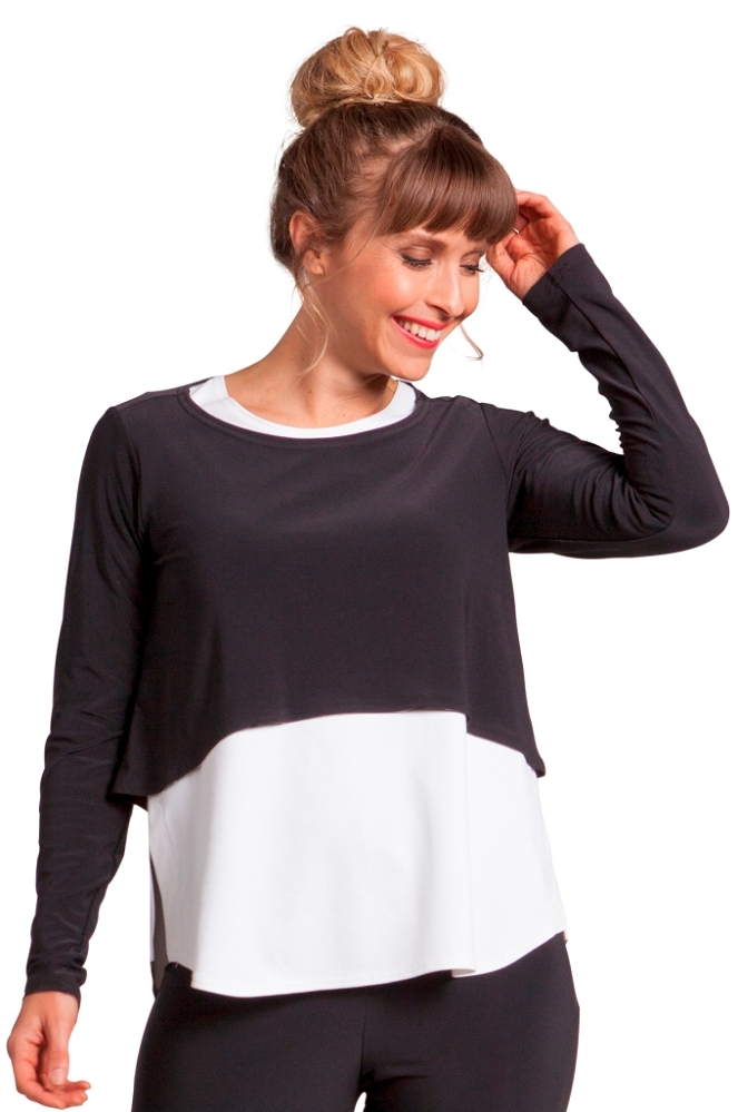 Sympli Womens Shorty Top Long Sleeves, Style 22104-3, 4 Colors Available