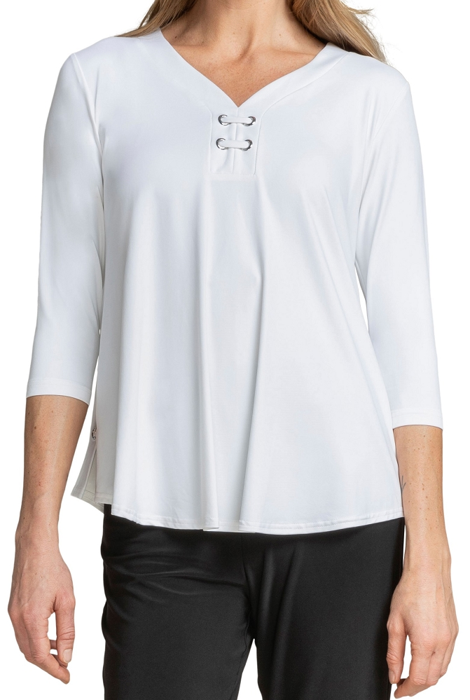 Sympli Womens 3/4 Sleeves, Halo Henley Top Style 22208-2, 2 Colors Available