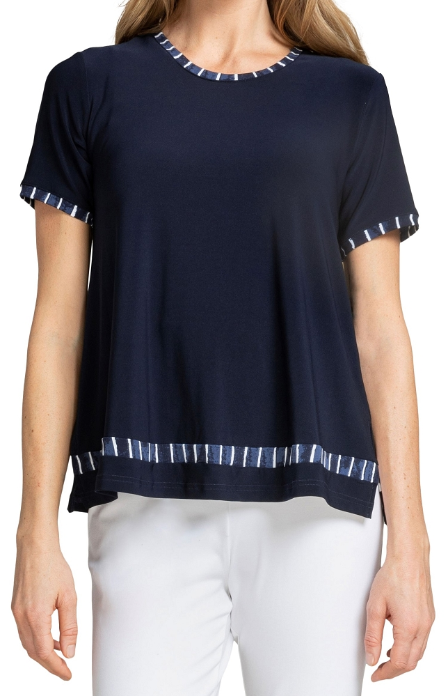 Sympli Womens Outline Boxy T Style 22211CB-1 Painted Lines, Color Navy Available