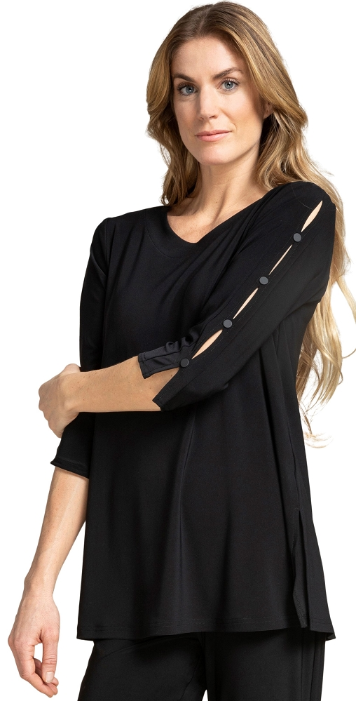 Sympli Womens 3/4 Sleeves, Icon Tunic Style 23152-2, 2 Colors Available