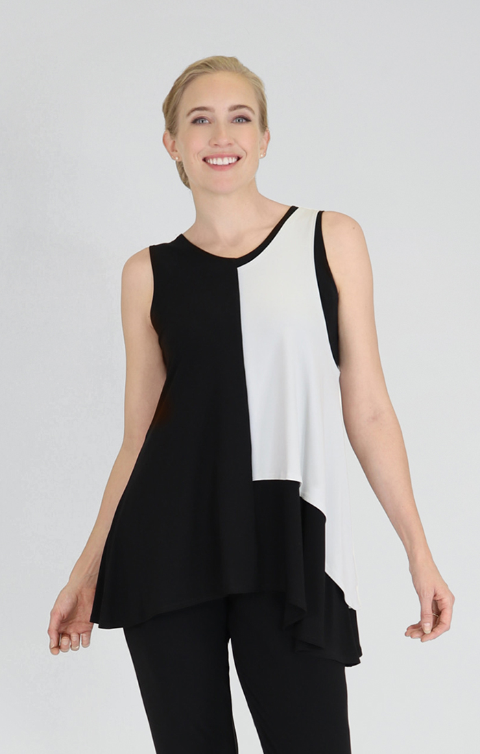 Sympli Womens Sleeveless Matrix Flip Top Style 21149CB, 2 Colors Available