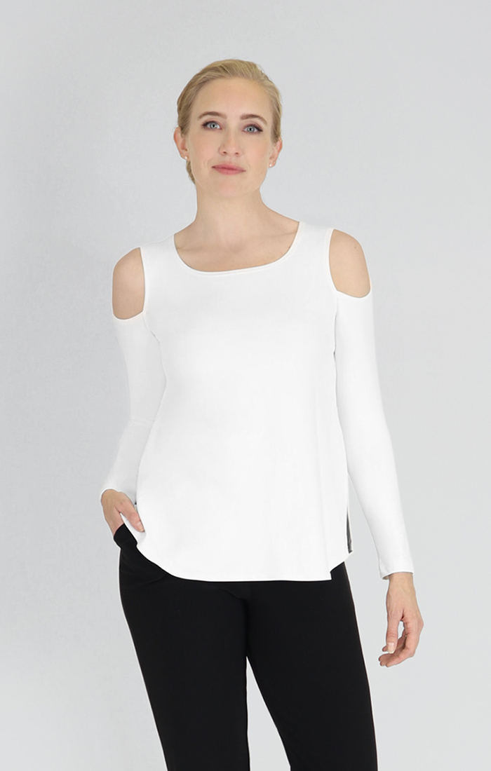 Sympli Womens Nuglimpse Top Long Sleeves Style 22114R-3 Color White