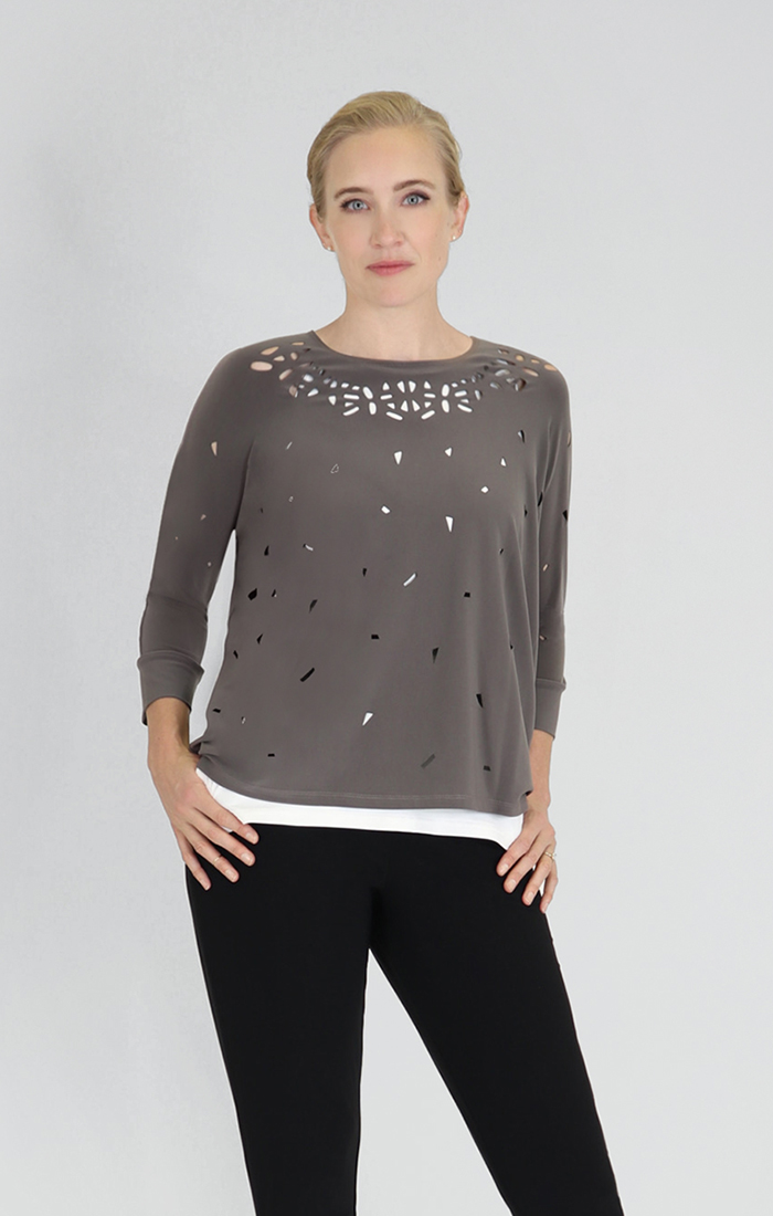 Sympli Womens Mosaic Dolman Top Style 22158, 2 Colors Available