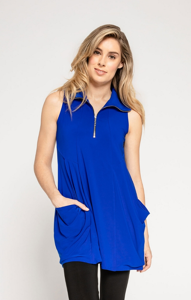 Sympli Womens Sleeveless Double Take Tunic Style 21172 Color Lapis