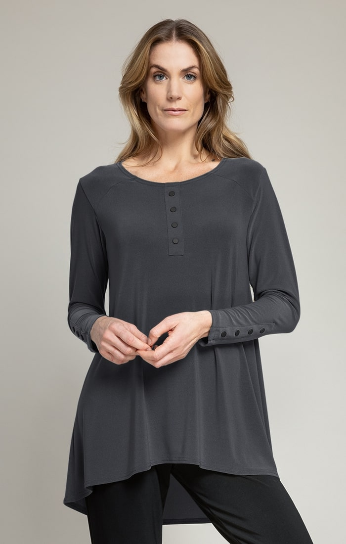 Sympli Icon Henley Top Style 22219Z-3, Long Sleeves, 4 Colors Available