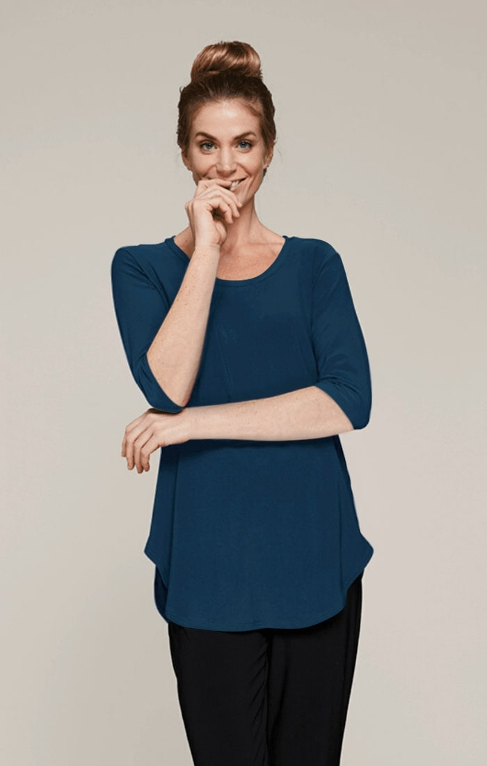 Sympli Womens Round About T, 3/4 Sleeves, Style 22225-2, 3 Colors Available