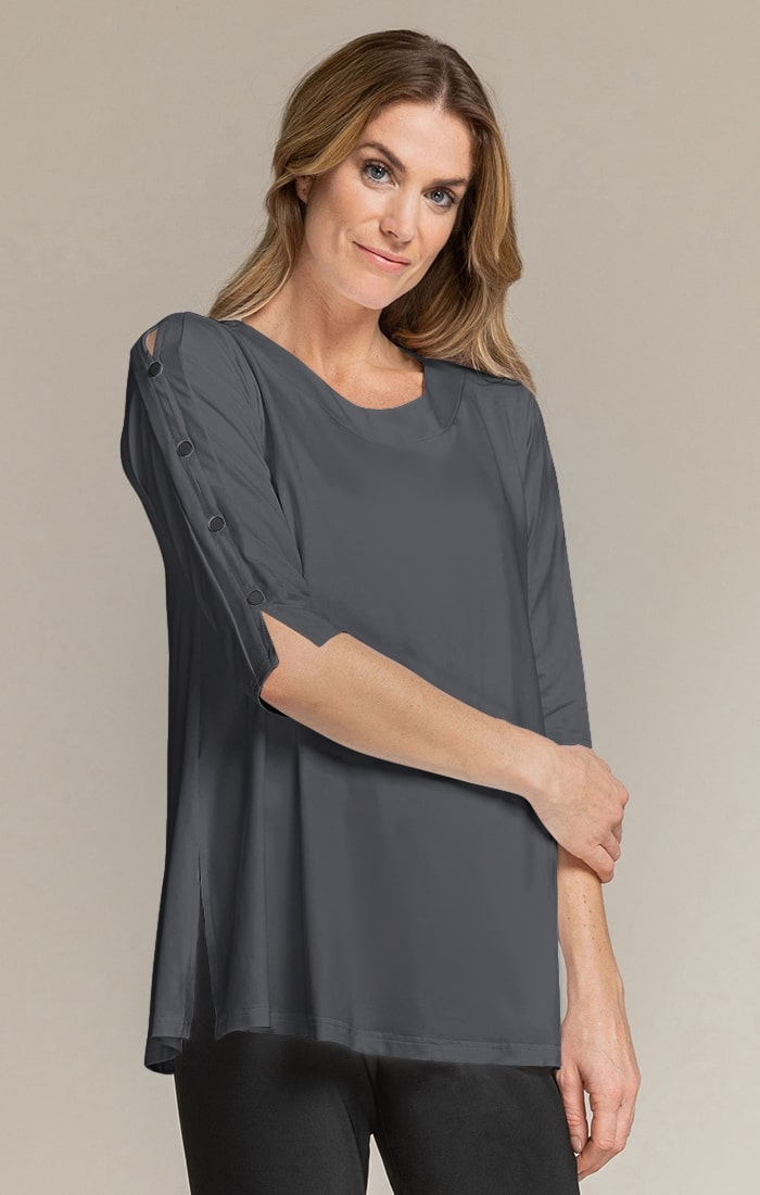 Sympli Womens 3/4 Sleeves, Icon Tunic Style 23152-2, 3 Colors Available