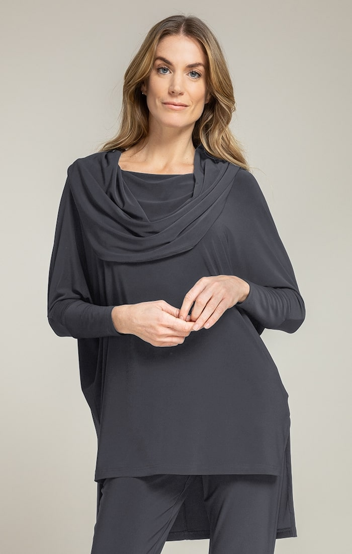 Sympli Womens Long Sleeves Wander Tunic Style 23158-2, 3 Colors Available