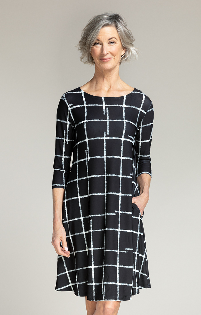 Sympli Womens Trapeze Dress , 3/4 Sleeves, Style 2895S-2 Color Crosshatch Large Black