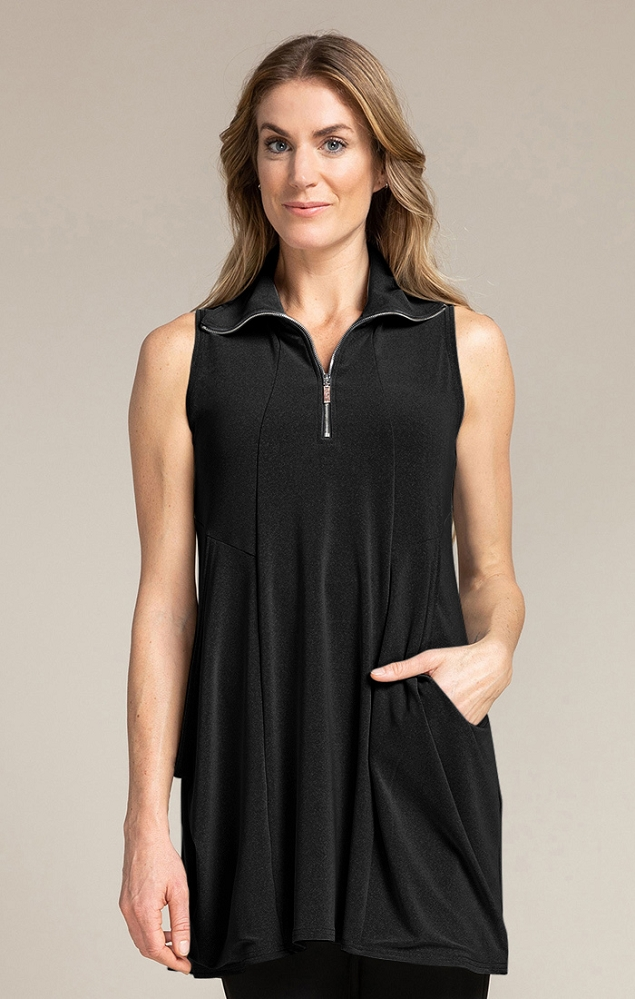 Sympli Womens Sleeveless Double Take Tunic Style 21172, 2 Colors Available