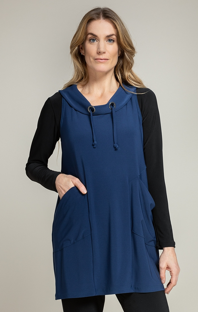 Sympli Womens Sleeveless Halo Slouch Smock Style 21176, 2 Colors Available