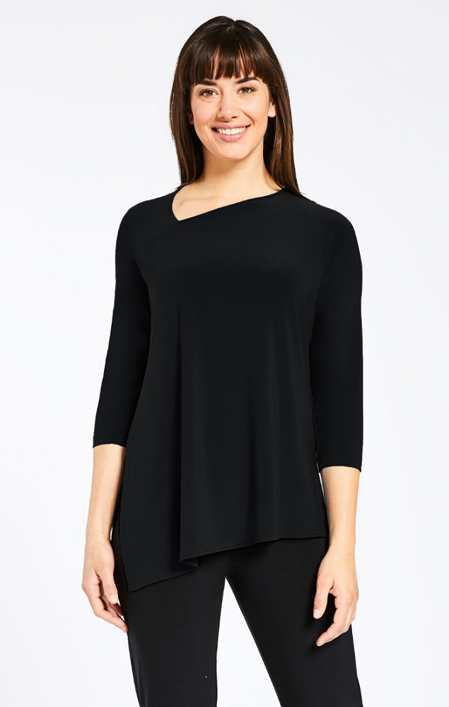 Sympli Womens Slant Top 3/4 Sleeves Style 22161-2 Color Black