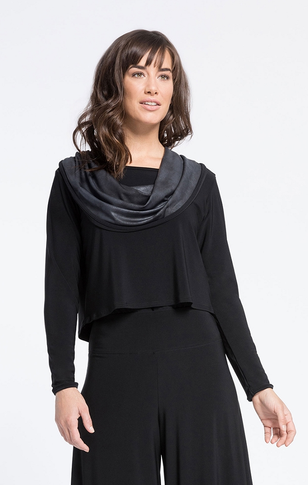 Sympli Womens Storm Shorty Cowl Top Style 22192-3 Color Pewter/Black