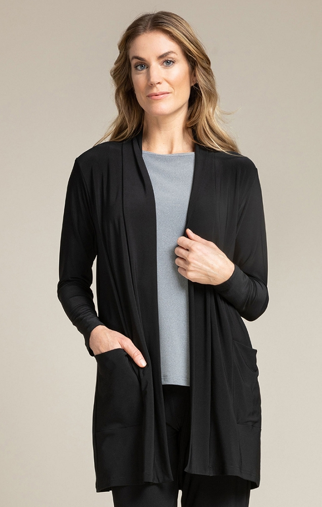 Sympli Womens Go To Cardigan Long Style 25111 Color Black