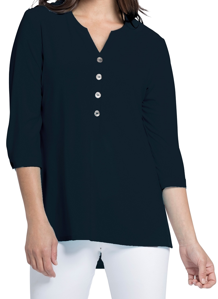 Sympli Womens Charm Henley Top Style 22184-2, Color Navy Available