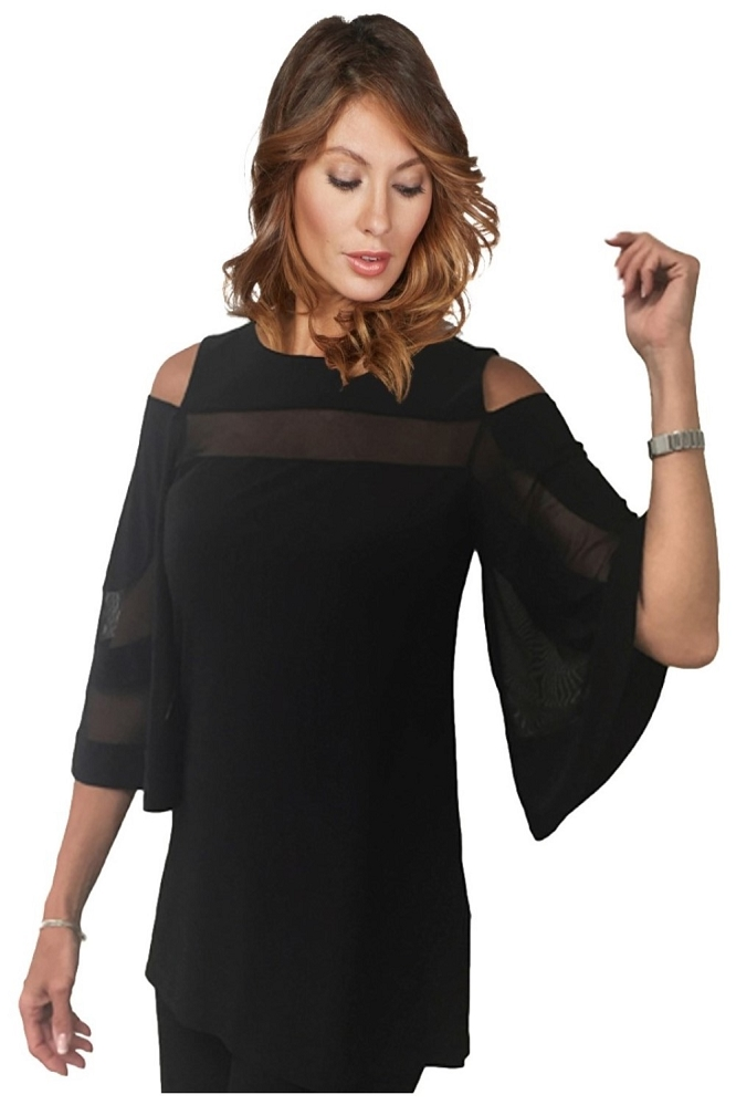 Frank Lyman Womens Cold Shoulder Mesh Tunic, Style 175089, Color Black