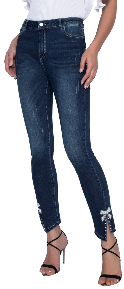 Frank Lyman Womens Jeans with Bow Style 196104U Color Denim