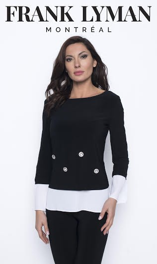 Frank Lyman Womens Knit Top, Style 203040 Color Black/White