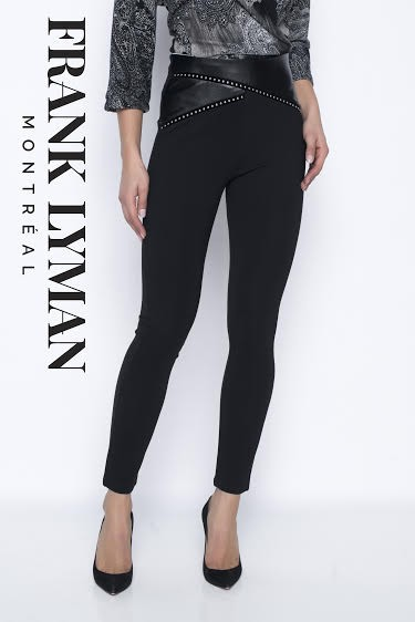 Frank Lyman Womens Knit Pant, Style 203106U Color Black/Silver