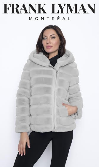 Frank Lyman Womens Synthetic Fur Jacket, Style 203180U Color Silver