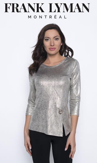 Frank Lyman Womens Knit Top, Style 203299 Color Gold