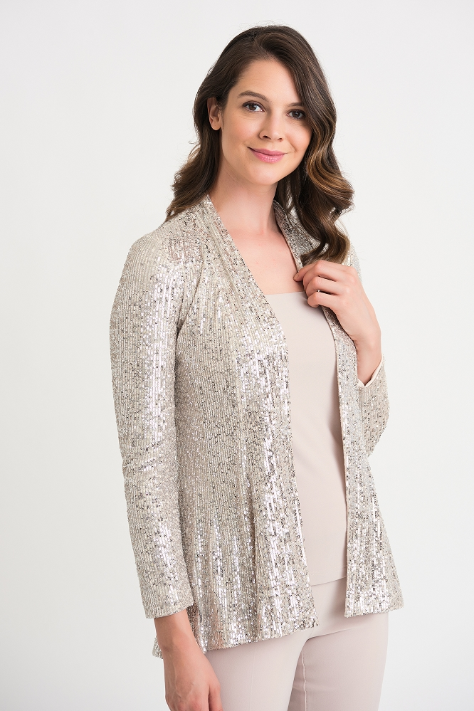 Joseph Ribkoff Womens Sequin  Jacket, Style 204192 Color Silver/Nude
