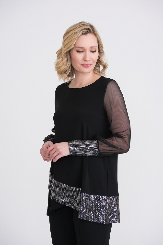 Joseph Ribkoff Womens Sequin Hem Tunic Style 204342, Color Black/Silk
