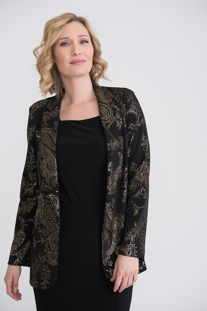 Joseph Ribkoff Womens Jacket, Style 204418 Color Black/Gold
