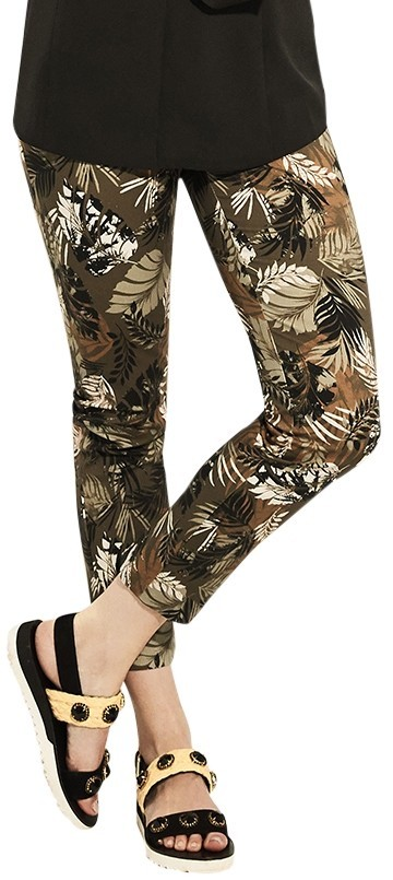 Lisette L Plus Size, Slim Ankle Pants Style LL35001 Spring Safari Print Color Loden Green