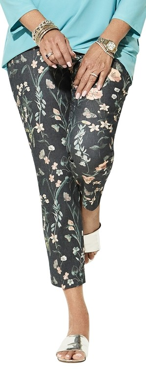 Lisette L. Thinny Crop Pants Style 32802 Japanese Garden Print Color Denim Blue