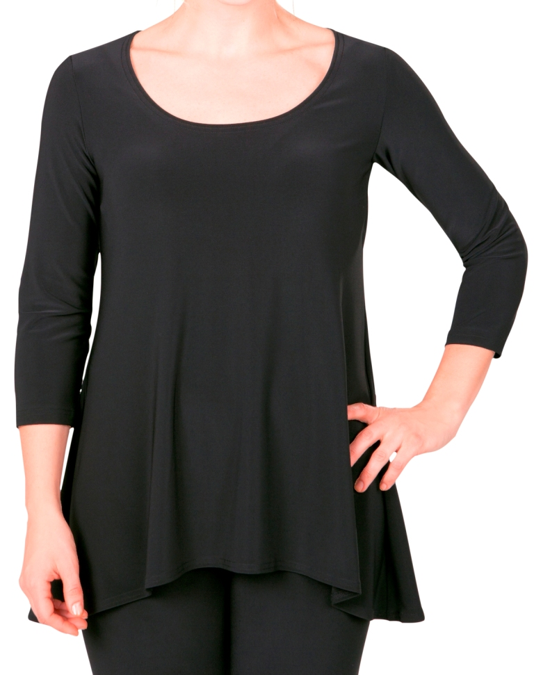 Sympli Go To Low Neck Top 3/4 Sleeves, Style 22117R-2, Color Black