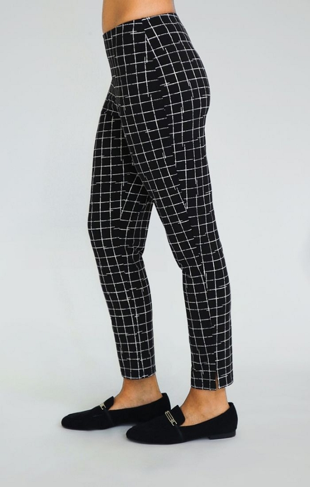 Sympli Narrow Ankle Pants Style 2748M Color Small Crosshatch Black, 28