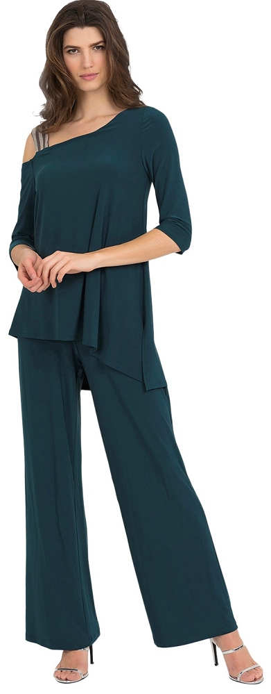Joseph Ribkoff Womens Glitter Strap Jumpsuit Style 194025 Color Mermaid