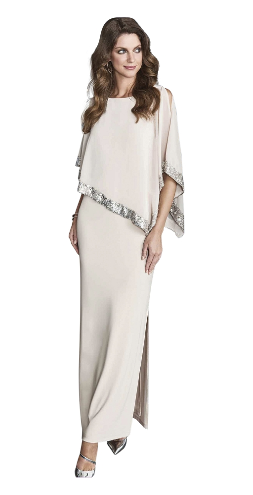 Frank Lyman Womens Evening Dress Style 198171 Color Beige