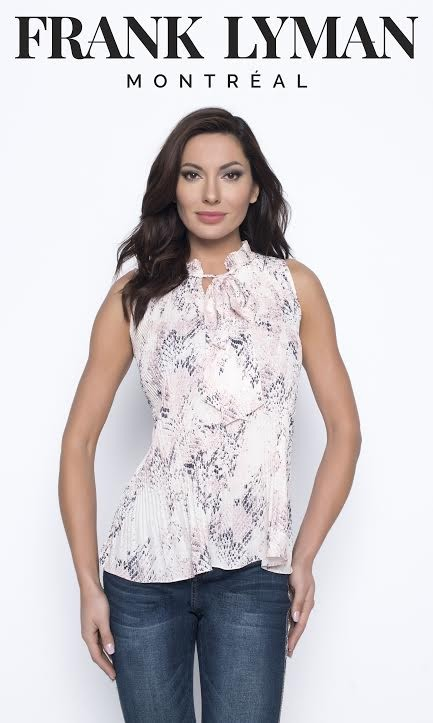 Frank Lyman Womens Woven Top, Style 203117U, Color Pink/Off-White