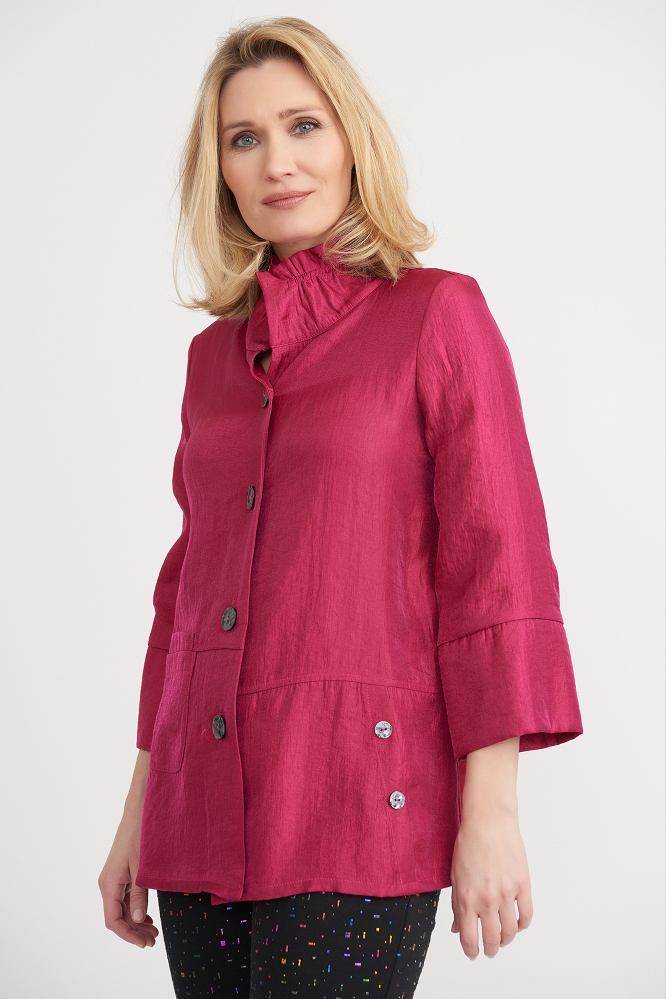 Joseph Ribkoff Womens High Colar Jacket Style 203272, Color Peony