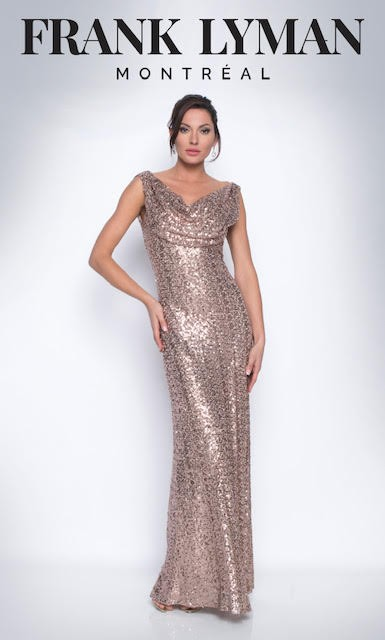 Frank Lyman Womens Dress, Style 209101U, Color Rose Gold