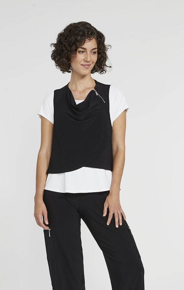 Sympli Womens Sleeveless Zest Crop Smock Style 21171 Color Black
