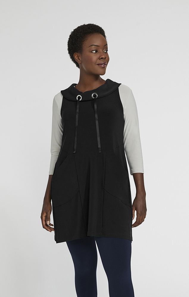 Sympli Womens Sleeveless Halo Slouch Smock Style 21176 Color Black