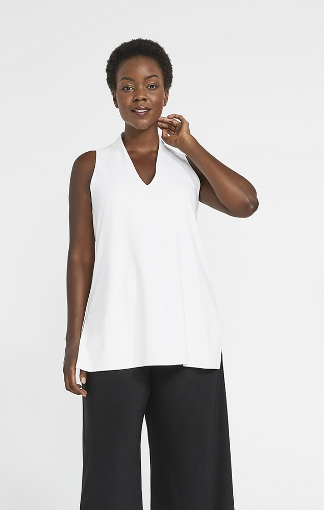 Sympli Womens Sleeveless Deep V Tunic, Style 2117, 3 Colors Available