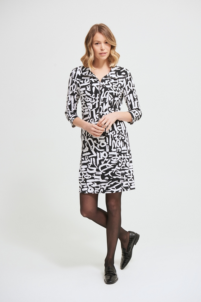 Joseph Ribkoff Dress Style 213426 Graffiti Print Color Black/White
