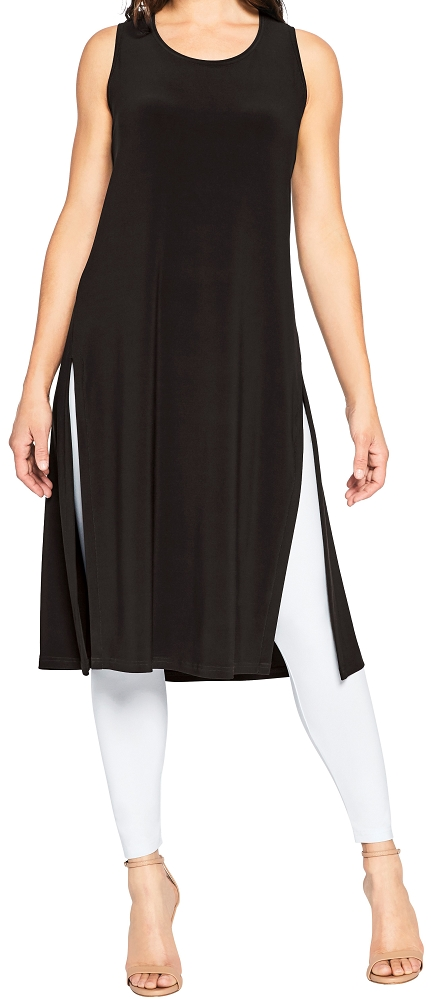 Sympli Womens Sleeveless High Slit Over Under Dress Style 2893, 2 Colors Available