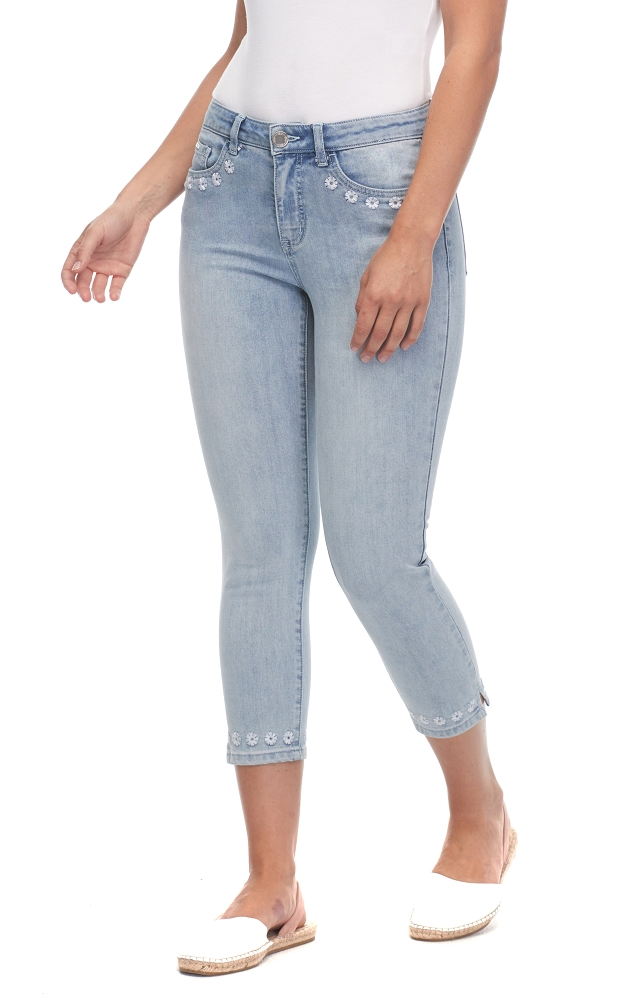 French Dressing Jeans Olivia Crop Leg Style 2908779 Daisy Trim Color Horizon Blue