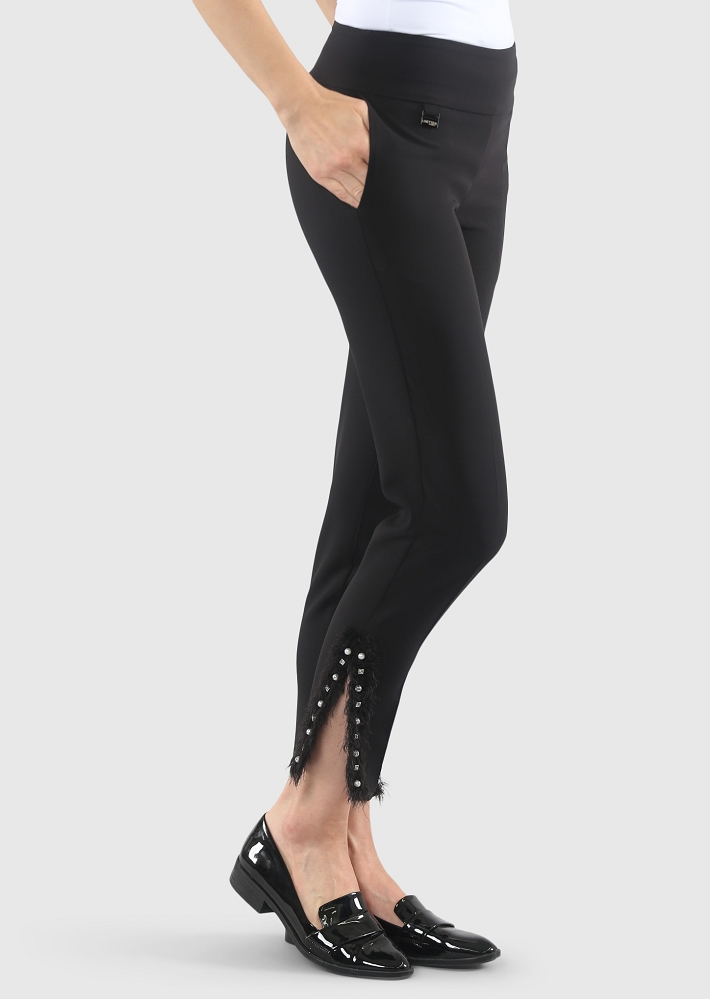 Lisette L. Slim Ankle Narrow Pant Style 334768 Victoria Stretch Fringes & Pearls Color Black