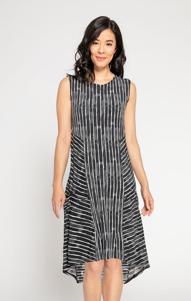 Sympli Womens Sleeveless Hi-Lo Tuck Dress Style 28105CB Painted Lines, Color Black